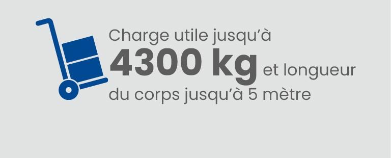Charge utile jusqu'à 4300 Kg et longueur du corps jusqu'à 5 mètres