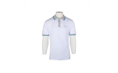 Polo de golf homme en coton de qualité supérieure blanc, détails gris et bleus. Taille XXL.