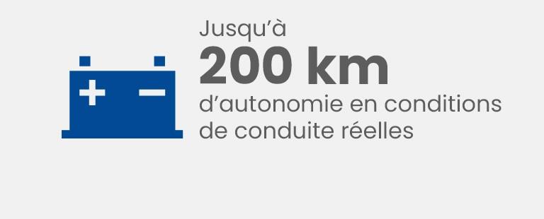 Jusqu'à 200 km d'autonomie en conditions de conduite réelles