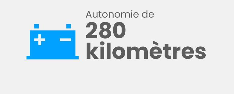 Autonomie de 280 kilomètres