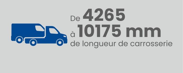 De 4265 à 10175 mm de longueur de carrosserie